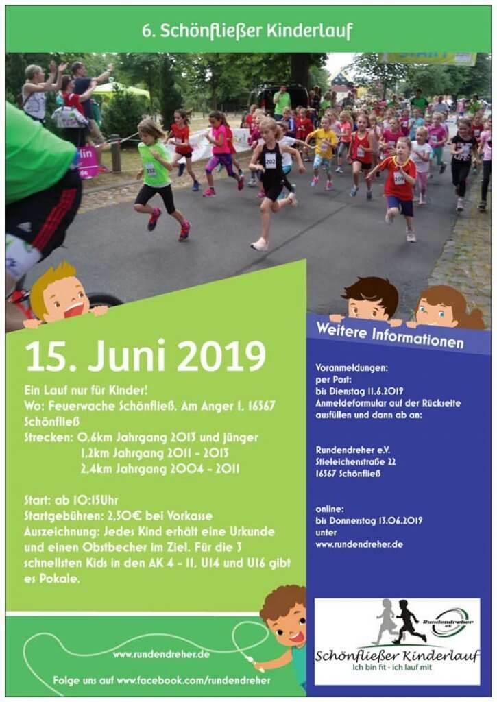 Flyer 6. Schönfließer Kinderlauf für der Gewerbeverein Mühlenbecker Land ist dabei